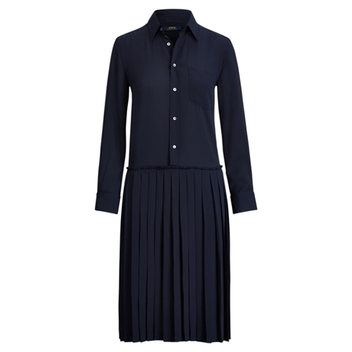 Polo Ralph Lauren Pleated Crepe Shirtdress