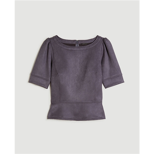 Anntaylor Faux Suede Peplum Top