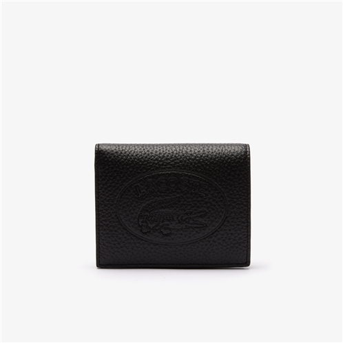 Lacoste Womens Croco Crew Grained Leather Snap Wallet
