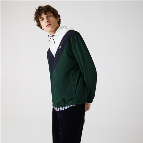 Lacoste Mens Lightweight Colorblock Hooded Jacket