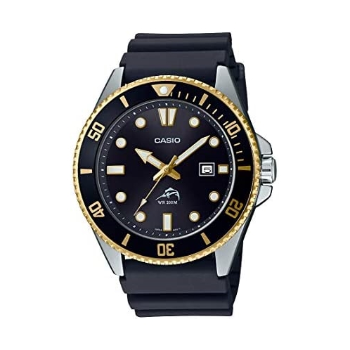 Casio Mens Diver Inspired Stainless Steel Quartz Resin Strap, Black, 25.6 Casual Watch (Model: MDV-106G-1AVCF)