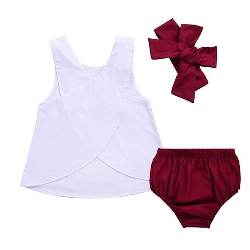 Aalizzwell 3pcs Baby Girls Rabbit Printed Cross Shirt+Ruffled Leaf Short Pants+Headband Outfit Set