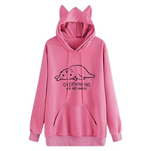XOWRTE Long Sleeve Hoodie Sweatshirt Women Hooded Pullover Blouse Cat Ear Red Pink Gray Black Top