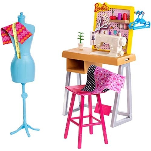 Barbie Fashion Design Studio Playset with Sewing Machine Station, Dress Form and Themed Toys, for 3 to 7 Year Olds
