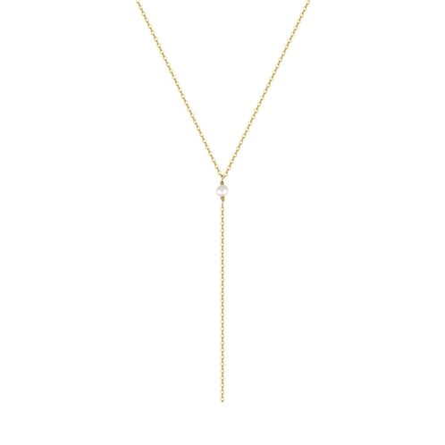 Befettly S.J JEWELRY Womens Simple Delicate 14K Gold Fill/Rose Gold/Silver Plated Triangle and Freshwater Pearls Layering Pendant Adjustable Y Necklace