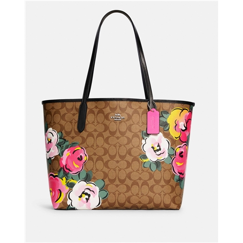 COACH City Tote In Signature Canvas With Vintage Rose Print