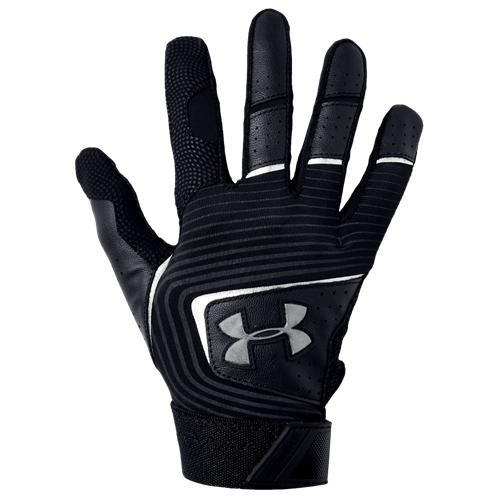 Under Armour Clean-Up Batting Gloves - Grade School / Black/Black/White