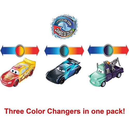 Mattel Disney Pixar Cars Color Changers Lightning McQueen, Mater & Jackson Storm 3-Pack