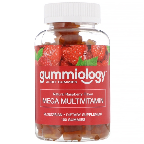 Gummiology, Adult Mega Multivitamins Gummies, Natural Raspberry Flavor, 100 Vegetarian Gummies