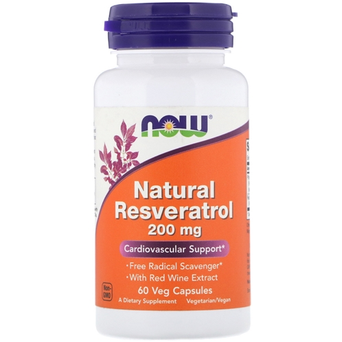 Now Foods Natural Resveratrol 200 mg 60 Veg Capsules