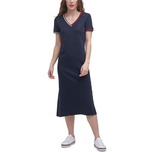 Tommy Hilfiger Cotton Dot-Print Midi Dress