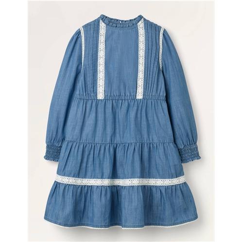 Boden Lace Detail Woven Dress - Chambray