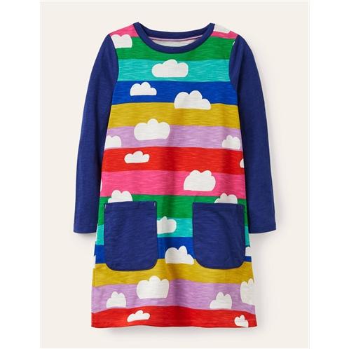 Boden Fun Pocket Jersey Dress - Multi Rainbow Clouds