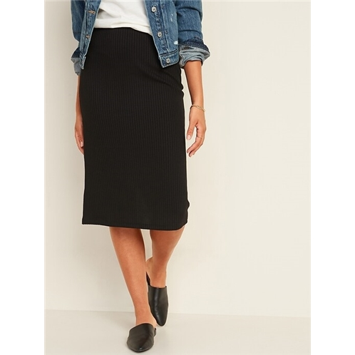 Oldnavy High-Waisted Rib-Knit Pencil Midi Skirt for Women