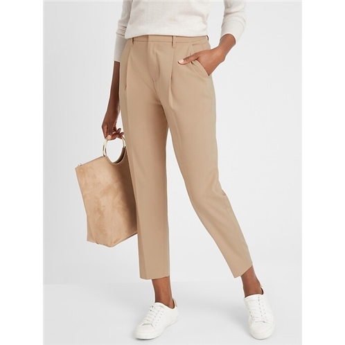 bananarepublic Pleated-Front Heathered Tapered Pant