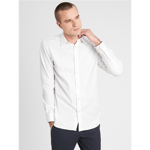 bananarepublic Standard Fit Non-Iron Solid White Shirt