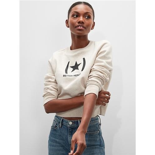 bananarepublic Logo Fleece Crew-Neck Sweatshirt