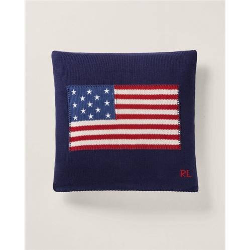 RL Flag Cotton Throw Pillow