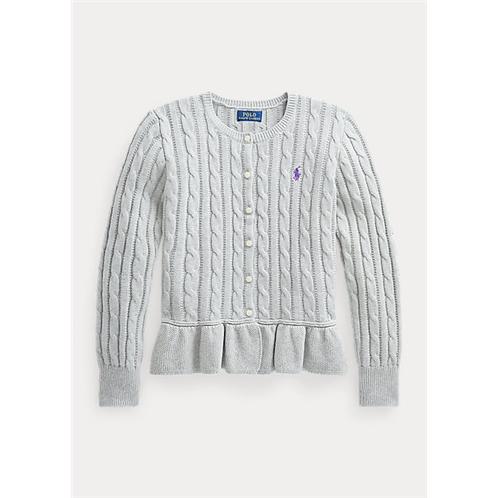 Polo Ralph Lauren Cable Cotton Peplum Cardigan