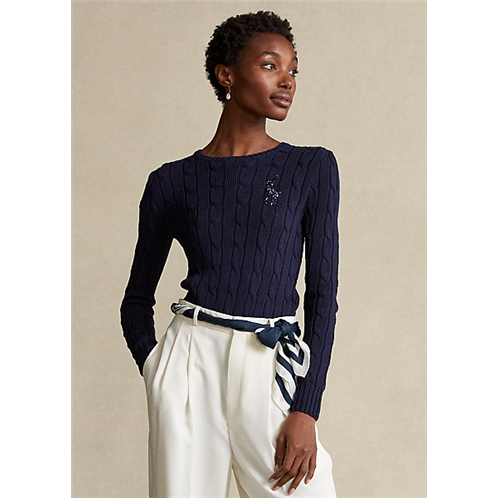 Polo Ralph Lauren Beaded Pony Cable Knit Sweater