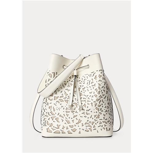 Lauren Perforated Leather Debby Drawstring Bag