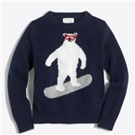 Jcrew Boys bear snowboarding intarsia sweater