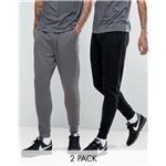 ASOS Slim Joggers 2 Pack Black/Charcoal Marl SAVE