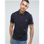 Fred Perry Laurel Wreath Fred Perry REISSUES Polo Single Tipped M2 Pique in Navy/1964 Gold
