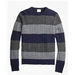 Brooksbrothers Wide-Stripe Cable Crewneck Sweater