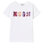 MSGM White Beaded and Embroidered Logo Tee