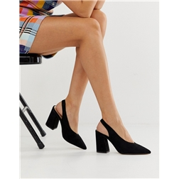 Miss Selfridge sling back heeled shoes in black