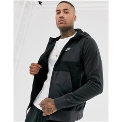 Nike winter zip-through hoodie with nylon panels in black