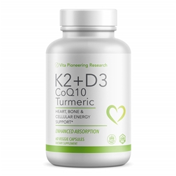 Vita Pioneering Research Vitamin D3 and K2 with Turmeric and COQ10 - Heart, Bone and Cellular Health Support with 10mg Avocado Powder for Better Absorption and Bio-Availability - Non-GMO and Gluten-Fr