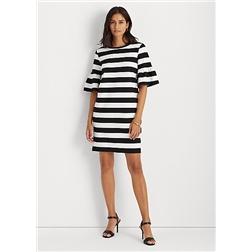 Lauren Striped Elbow Sleeve Ponte Dress