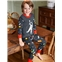 Boden Cosy Long John Pajamas - Dark Grey Astronaut