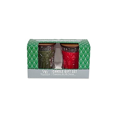 WoodWick Jeweled Hourglass Candle 2-Piece Giftset in Frasier Fir and Crimson Berries