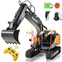 DOUBLE E RC Excavator 3 in 1 Construction Truck 17 Channel 1/16 Scale Full Functional with 2 Bonus Tools Remote Control Excavator Construction Tractor