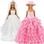 Visit the BARWA Store BARWA White Wedding Dress with Veil and Pink Princess Evening Party Clothes Wears Gown Dress Outfit with Hat for 11.5 Inch Girl Doll