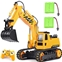 DOUBLE E Remote Control Excavator Toy 2 Rechargeable Batteries Hydraulic RC Excavator Construction Vehicles Tractor with Working Sounds for Boys Girls Kids